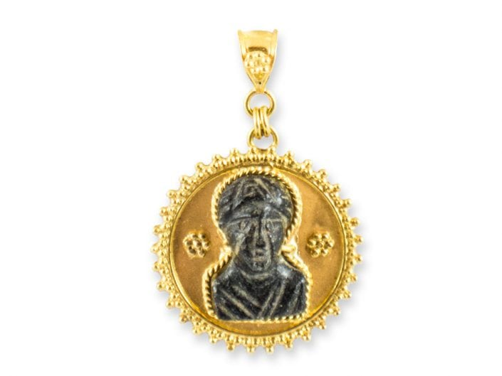 Ancient Roman Bust encased in 21k Gold Pendant