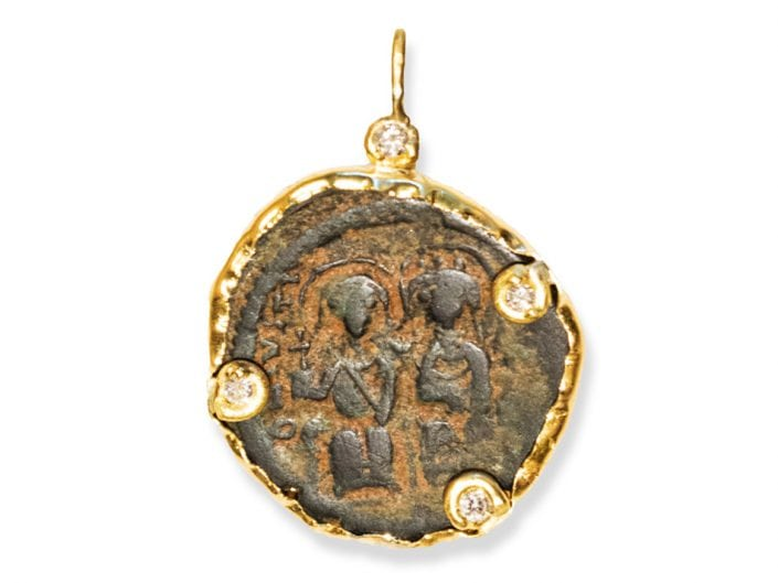 Ancient Byzantine Coin encased in 22k Gold with Diamond Accents