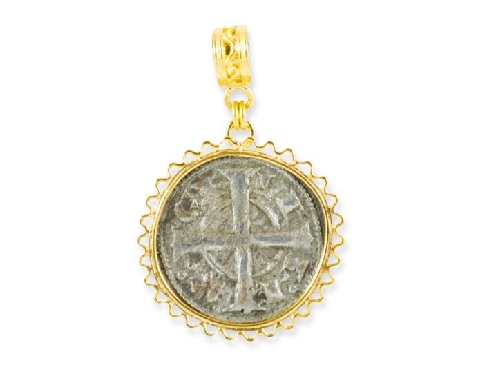 Ancient Byzantine Coin surrounded by a 21k Gold Pendant