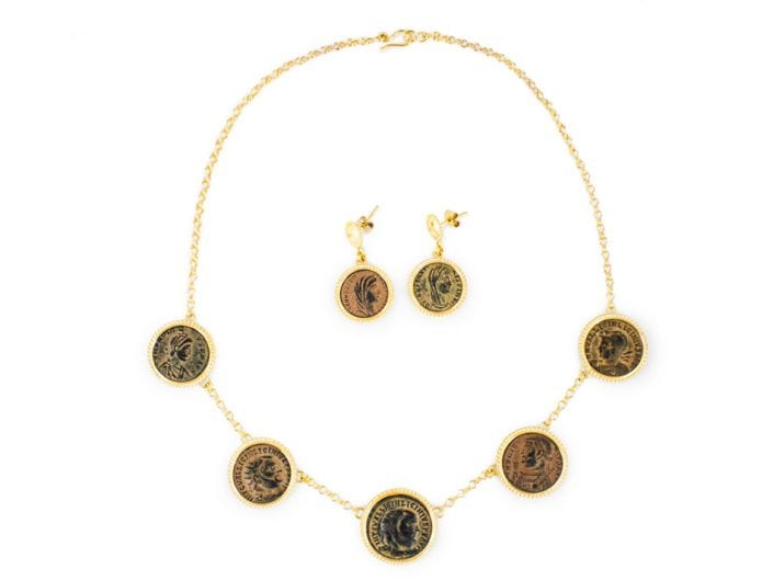 Ancient Coin Necklace and Earrings set in 21k Gold