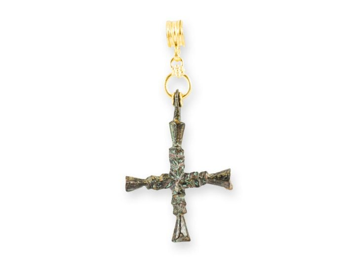 Ancient Roman Cross Charm with 21k Gold Pendant