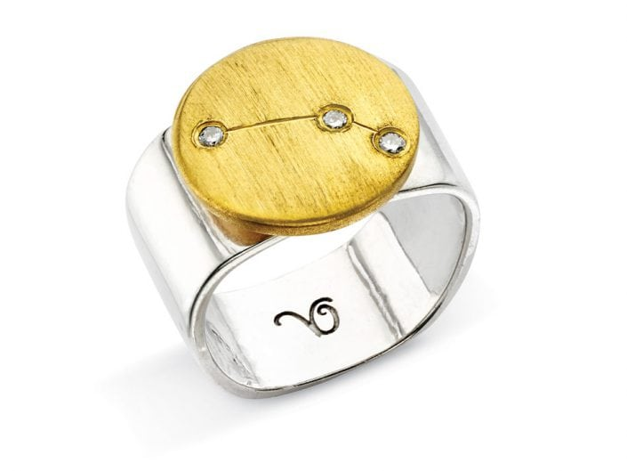 Ring of 22k gold disc atop a sterling silver band features glittering high-quality diamonds outlining star sign constellation of Aries.