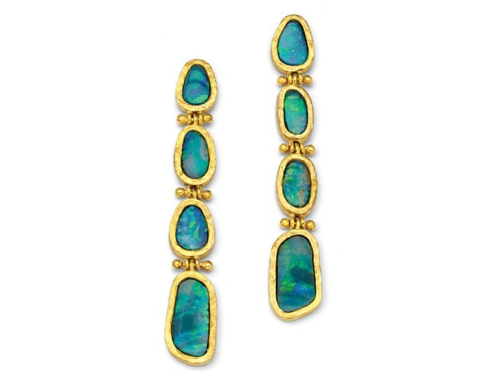 Boulder Opal Earrings surrounded by hand-formed 22k Gold