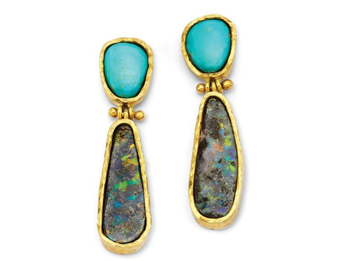 Boulder Opal and Turquoise Earrings surrounded by hand-formed, 22k gold Boulder Opal and Turquoise Earrings