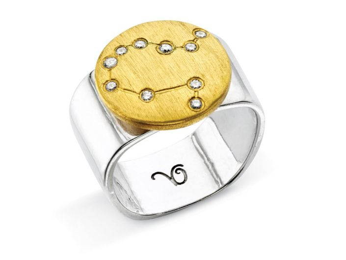 Ring of 22k gold disc atop a sterling silver band features glittering high-quality diamonds outlining star sign constellation of Gemini.