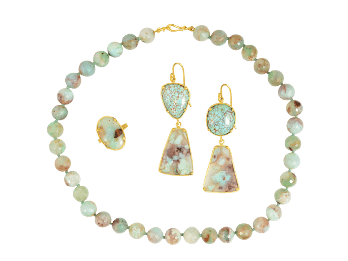 Aquaprase Necklace, Earrings, Ring Set set in 22k Gold