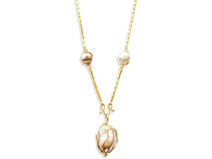Large baroque pearl and round multicolored freshwater Tahitian pearls encased in handmade, 22k gold cages joined by a 22k gold chain Pearl Cage Necklace