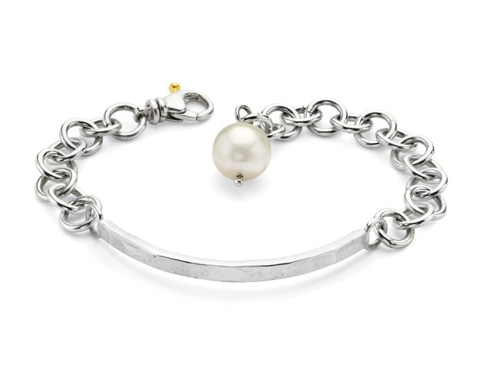 Freshwater Pearl on Handmade Sterling Silver ID Bracelet Pearl on Handmade ID Bracelet