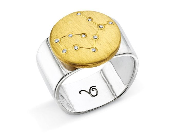 Ring of 22k gold disc atop a sterling silver band features glittering high-quality diamonds outlining star sign constellation of Virgo.