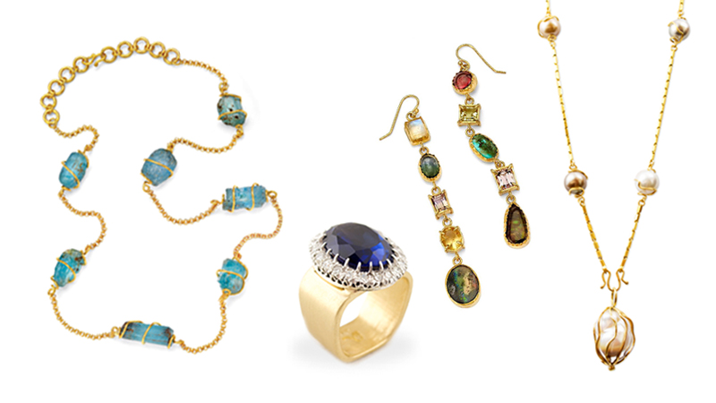 Gemstones- A variety of colorful gemstones from around the world set in  gold necklaces, rings and earrings.