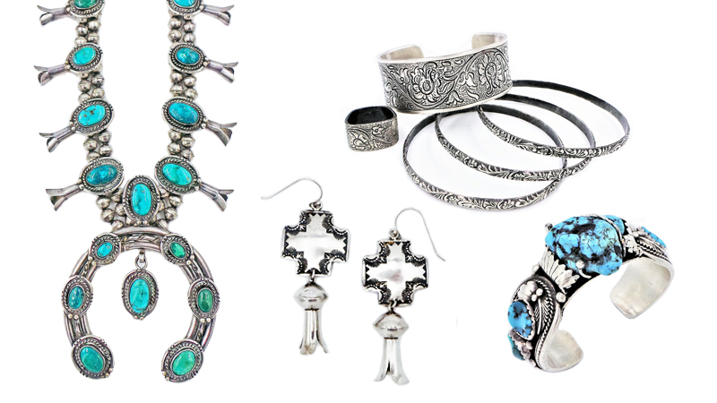 Southwest- New and vintage sterling silver jewelry featuring American turquoise from the Southwest.